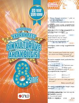 8. Sınıf Ünlü Din Kültürü Ve Ahlak Bilgisi Çek Kopart Yaprak Test