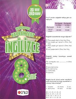 8. Sınıf Ünlü İngilizce Çek Kopart Yaprak Test