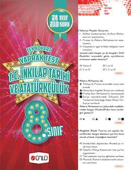 8. Sınıf Ünlü T. C İnkılap Tarihi Ve Atatürkçülük Çek Kopart Yaprak Test