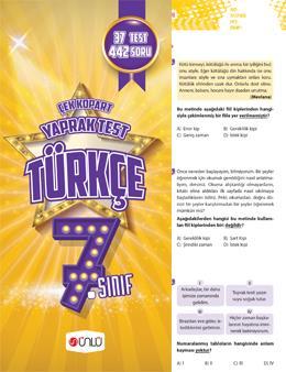 7. Sınıf Ünlü Türkçe Çek Kopart Yaprak Test
